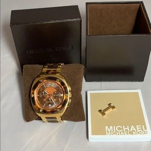 Michael Kors Gold & Tortoise Shell 44mm watch